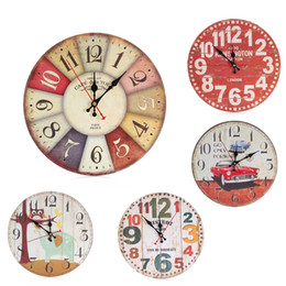 Wholesale Wholesale Kids Wall Clocks - Cute Wooden Wall Clock Cartoon Round Vintage Rustic Kitchen Home Office Home Decor Chic Wall Clocks Kids Bedroom Decoration