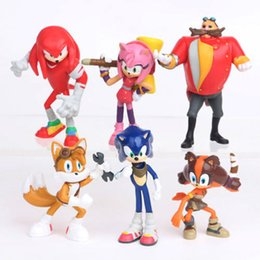 6pcs SEGA Sonic the Hedgehog Sonic Boom Amy Tails Knuckles Dr. Eggman boneca PVC Action Figure estatueta Play Set Toy Bolo Topper crianças presente de Fornecedores de figuras sonic hedgehog