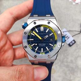 relógios azul royal Desconto Hot Sale luxo limitada Royal Oak Offshore Diver Azul Dial Automática Relógios Mecânicos Borracha Assista Rubber 42 milímetros 15706 Mens relógio de pulso