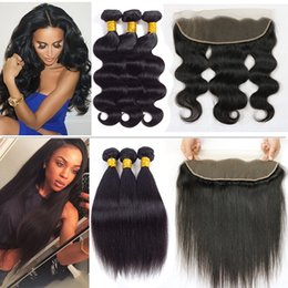 Wholesale Weave Front Closure - Malaysian Body Wave Straight Hair Bundles with Lace Frontal Virgin Brazilian Wet And Wary Straight Human Hair Front Weaves Closure with 3pcs
