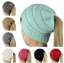 Wholesale Girls Hair Caps - Designer Women Hair Bonnet CC Ponytail Caps CC Knitted Beanie Fashion Girls Winter Warm Hat Back Hole Pony Tail Autumn Sports Beanies
