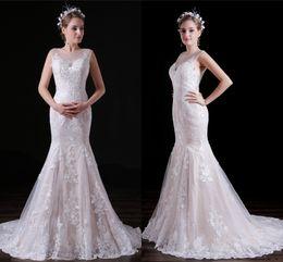 Vestidos de noiva imagens de trem longo on-line-Imagem Real Sereia Vestidos De Casamento Para Beleza Meninas Longo Lvory Tribunal Trem Apliques De Renda Feitos Sob Encomenda Do Vestido de Noiva HY4194