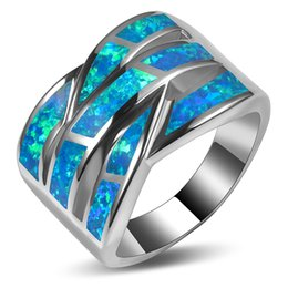 Wholesale sterling silver heart jewelry sets - Weinuo Blue Fire Opal Ring 925 Sterling Silver Top Quality Fancy Jewelry Wedding Ring Size 5 6 7 8 9 10 11 A313