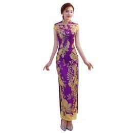 Mangas de vestido oriental on-line-Xangai história 2018 nova venda chinês tradicional vestido lantejoulas longo qipao manga curta rendas cheongsam oriental das mulheres dress