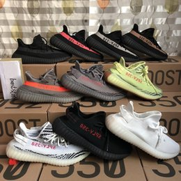 Wholesale Red Hot White - Hot Sale Boost 350 V2 Zebra Cp9654 Orange Grey Beluga 2.0 AH2203 Black Red Bred CP9652 Kanye West Running Shoes For Sale