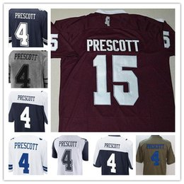 Wholesale pro sports football - NCAA Men's Mississippi State Bulldogs Jersey #15 Dak Prescott College Football Stitched Embroidery 4 Mens Sports Pro Navy Blue White Jerseys