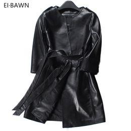 415a0900d62 2019 abrigo de cuero negro largo 2018 mujeres de primavera abrigo de cuero  genuino largo negro