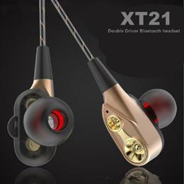 Haut-parleurs bluetooth dj en Ligne-XT-21 Sans fil Bluetooth Écouteurs Double Haut-Parleur Conducteur Sécurisé Écouteurs Casque HIFI Stéréo BT4.2 DJ Musique Casque Pour iPhone Xs Max Samsung