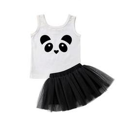 Panda outfits gesetzt online-Neue Panda Baby Mädchen Prinzessin Kleid Sommerkleid Spitze Party Sleeveless Tops Kleid Outfit 2 Stücke Set Nette Kleidung 0-4Years