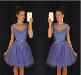 Wholesale Lilac Belt - 2018 Lavender Sheer Short 8th-12th Grade Homecoming Dresses Cap Sleeves Lace Appliques Beaded with Belt Backless Mini Cocktail Party Dress