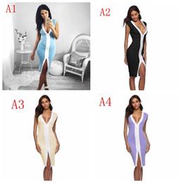 robes à joint fendu Promotion Femmes robes v cou Slim Sexy Open Bodycon Deep V Split mixte sans manches robe Sexy Party Dress LJJF004