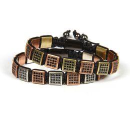Nuovo commercio all'ingrosso dei monili degli uomini 10pcs / lot oro antico oro rosa e argento Vintage Micro Pave nero Cz Flatbead Bracelet For Cool Men da
