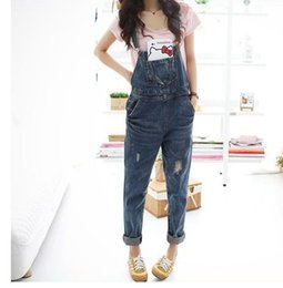 Wholesale Ladies Loose Long Pant - strap feet pants harem jeans Fashion Women's Ladies Baggy Denim Jeans Full Length Pinafore Dungaree Overall Jumpsuit hole loose jeans strap