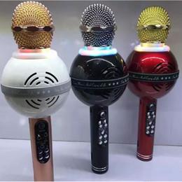 karaoke del microfono del mp3 Sconti Microfono Karaoke WS878 Wireless Bluetooth Microfono palmare stile sorriso Supporta vari smartphone da ios e Android