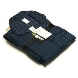 Wholesale Flannel Pajamas Sets - hombre invierno Franela algodon dark blue stripe warm pajamas pyjamas pijamas sets plus size large loose nightwears for marido father