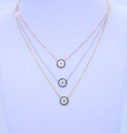 Cruz do mal on-line-2018 novas mulheres da moda presente partido jóias de prata cadeia de 925 sterling silver evil eye sideway colar cruz pavimentada zircônia azul