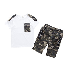 2020 camisa dos miúdos 12 anos Summer Children Boy Clothes Sets Kids 2pcs Short Sleeves T-Shirt Suits Camouflage Shorts Child Clothing Suits FOR 12 14 16 YEARS Y1893005 camisa dos miúdos 12 anos barato