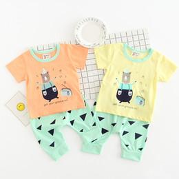 5bf7acdccbc97 vente de pyjamas bébé Promotion Été Bébé T-shirt + Shorts 2 pcs Set Coton