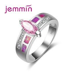 Plata de ley rosa opal online-Jemmin Nueva Llegada Pink Fire Opal Anillos Para Mujeres Hombres 925 Sterling Silver Wedding Party Anillo de Compromiso Anillos