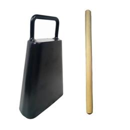 6-дюймовый чугунный набор колокольчиков с деревянной ручкой ударных музыкальных инструментов с черной отделкой от