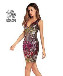 Женская одежда Dress лето Sexy beach шифон dress тонкий полиэстер материал повседневные платья шамбре Longuette V-образным вырезом с блестками AG00269 от