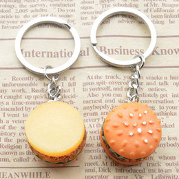 Wholesale food support - Cute Hamburger Pendant Keychain Simulation Food Pendant Key Ring Novelty Key Holder (Random Color Send) Support FBA Drop Shipping G736Q