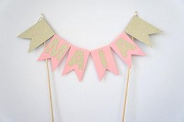Wholesale First Decor - Personalised pink gold glitter name cake bunting topper banner first girl christening baptism Party baby shower decor