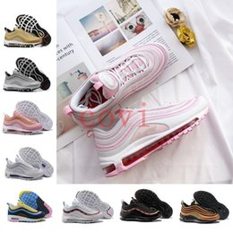 Wholesale goddess blue - 2018 New 97 White Pink Goddess Valentine's Day Running Shoes Silver Bullet Triple Balck Gold Anniversary Edition 97s OG Women Men Sneakers