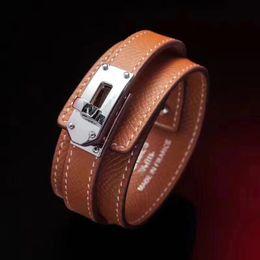 Wholesale Cross Christmas Tree - 2018 Wholesale titanium steel H leather bracelet round button wide H cross-grain tree bracelet women's bracelet