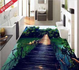 Wholesale Bamboo Flooring Kitchen - Wooden bridge bamboo sky water white clouds water 3D floor tiles 3d flooring for living room and bedroom