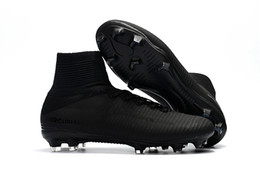 Wholesale Kids Lace Boots - 2018 New Arrival Full Black Soccer Cleats Mercurial Superfly Kids Soccer Shoes High Ankle Cristiano Ronaldo Mens Womens Football Boots