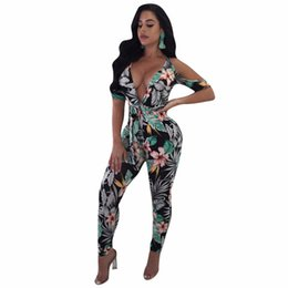 90f0a48a67af Floral Print Women Sexy Jumpsuit Deep V-Neck Cap sleeve Summer Rompers  Skinny Lady Hollow Out Fashion Overalls Q082 ladies floral jumpsuits deals