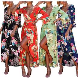Wholesale lady s long floral dress - Split Long Dresses Women Sexy V Neck Holiday Ladies Maxi Long Summer Beach Floral Print Dress Flare Sleeve Bohemia Dress
