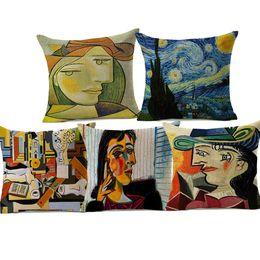 Pinturas de noite estrelado on-line-10 Estilos Pablo Picasso Pinturas Famosas Capas de Almofada A Surrealismo Noite Estrelada Abstrata Art Capa de Almofada Decorativa Travesseiro De Linho Caso