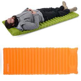 Wholesale fleece sleep - 2 Styles Manual Inflatable Hand Press Inflating Dampproof Sleeping Pad Portable Tent Air Mat Mattress Outdoor Camping H224Q