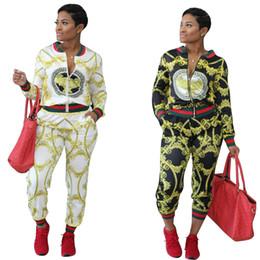 Wholesale Yoga Jacket Xl - Leisure threaded orientation printing sports suit, cardigan, jacket, tight pants, women's wear