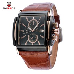 Wholesale Sport Quartz Japan Movt - Christmas Gift BADACE Top Brand Genuine Real Leather Strap Mens Watches Casual Square Japan Movt Quartz Watch Wrist Watch 2098