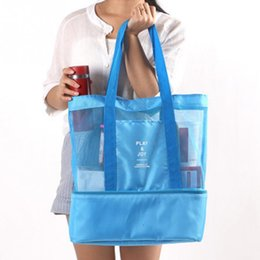 Wholesale Making Drinks - Handheld Make Up OrganizerInsulated Cooler Picnic Bag Mesh Beach Tote food Drink Storage Bag