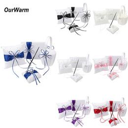 Wholesale book supplies - Ourwarm 4pcs  Lot Wedding Flower Girl Basket Ring Pillow Guest Book And Signature Pen Set For Romantic Bridal Wedding Decorations