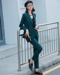 mulheres casaco verde escuro Desconto Novas Mulheres Terno 2018 Moda Magro Escritório de Negócios OL Verde Escuro Jaqueta Conjunto Formal Blazer + Calças Terno Feminino Feminino L1629