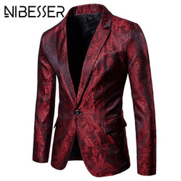 NIBESSER  Men Blazer Fashion Floral Slim Fit Suits & Blazers Autumn Casual Single Button Purple Mens Wedding Suit Jacket от