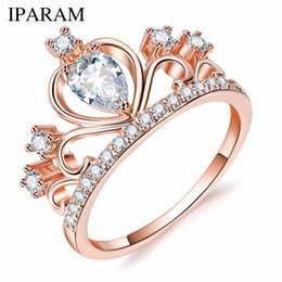 Wholesale Finger Top Ring Set - whole saleTOMTOSH Fashion Silver Zircon Crown Heart Ring Princess Rings Trendy Top Quality Classic Crystal Charm Finger Ring Jewelry