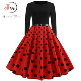 langarm rockabilly kleid Rabatt Red Dot Elegante Party Kleider Frauen Langarm Winterkleid Große Schaukel Rockabilly Vintage-Kleid Plus Size Casual Christmas Robe