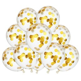 Wholesale Dot Bubble - Latex Free Balloon Gold Paillette Balloons 12 Inch Clear Balloons With Golden Brights Dots Party Decorations Wedding Ballons Wholesale