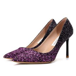 zapatos de la boda de raso de marfil vuelos Rebajas Bombas de brillo embellecido para mujer Bombas de punta en color de contraste en color degradado Stilettos de tacón alto Zapatos de vestir slip-on sexy