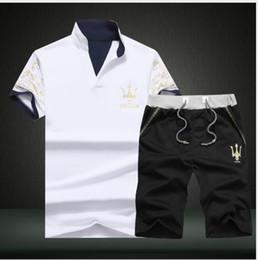 Wholesale Top Branded Men Suits - 2018 Sportsuits Set Men 2018 Brand Polo Suits Summer 2PC Top Short Set Men's Stand Collar Fashion 2 Pieces T-shirt Shorts Tracksuit 114