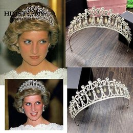 Wholesale Antique White Ribbon - Princess Diana Same ABS Pearl Crown Crystal Tiara Bridal Jewelry Crystal and Pearl for Bridal Hair Accessories and Tiara wedding crown