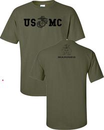 Desconto por atacado Mens 100% Algodão de Manga Curta Impressão Corpo de Fuzileiros Navais Militar Usmc Frente Traseira de Impressão T-shirt Dos Homens 842 de