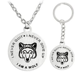 Wholesale Letter Initials - Fashion Necklace Stainless Steel I am a Wolf Never Quit Never Give Up Necklace Key Chain Key Rings Fashion Jewelry Drop Shipping