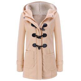 Wholesale Wholesale Down Coats - Wholesale- Women's Spring Autumn Trench Coat Long Overcoat Female Hooded Coat Zipper Horn Button Outwear